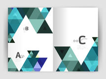 Vector modern geometric annual report cover. Modern business brochure or leaflet A4 cover template. Abstract background with color triangles, annual report royalty free illustration
