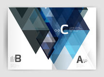 Vector modern geometric annual report cover. Modern business brochure or leaflet A4 cover template. Abstract background with color triangles, annual report vector illustration