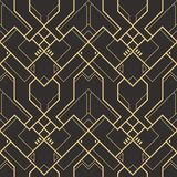 Abstract art deco geometric tiles  pattern. Vector modern geometric tiles pattern. golden lined shape. Abstract art deco seamless luxury background Royalty Free Stock Images