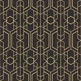 Abstract art deco seamless pattern 07. Vector modern geometric tiles pattern. golden lined shape. Abstract art deco seamless luxury background royalty free illustration