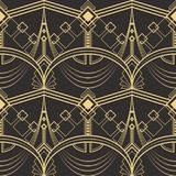 Abstract art deco seamless pattern 02. Vector modern geometric tiles pattern. golden lined shape. Abstract art deco seamless luxury background stock illustration