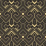 Abstract art deco seamless pattern 01. Vector modern geometric tiles pattern. golden lined shape. Abstract art deco seamless luxury background stock illustration