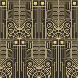 Vector modern geometric tiles pattern. golden lined shape. Abstract art deco seamless luxury background stock illustration