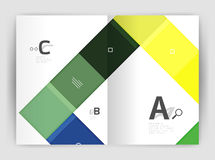 Vector modern geometrical a4 flyer brochure template. Annual report print template with infographics abc options Royalty Free Stock Image