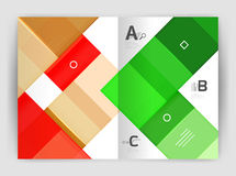 Vector modern geometrical a4 flyer brochure template. Annual report print template with infographics abc options Stock Image