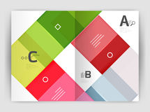 Vector modern geometrical a4 flyer brochure template. Annual report print template with infographics abc options Stock Images