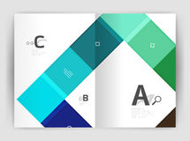 Vector modern geometrical a4 flyer brochure template. Annual report print template with infographics abc options Stock Photos