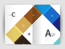 Vector modern geometrical a4 flyer brochure template. Annual report print template with infographics abc options Royalty Free Stock Photo
