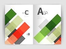 Vector modern geometrical a4 flyer brochure template. Annual report print template with infographics abc options Royalty Free Stock Images