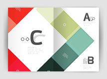 Vector modern geometrical a4 flyer brochure template. Annual report print template with infographics abc options Royalty Free Stock Photos