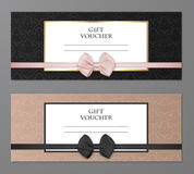 Vector modern gift voucher template set with floral pattern and beautiful bow. Gift coupon, card, invitation Royalty Free Stock Photography