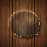 Vector modern glass bubble speech on wood Royalty Free Stock Photography