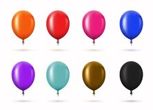 Vector modern glossy helium balloons set for birthday design. Or other holidays Stock Photo