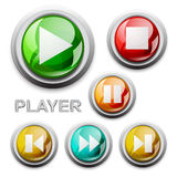 Vector modern glossy icons, player. Modern glossy buttons in vector and , player Royalty Free Stock Photography