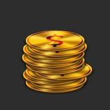Vector modern gold dollar on dark background. Royalty Free Stock Photo