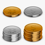 Vector modern gold and silver money collection Royalty Free Stock Image