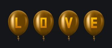 Vector modern golden balloons background for happy berthday or valentine day. Stock Photos