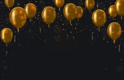 Vector modern golden balloons background for happy birthday or anniversary day. Event invitation Royalty Free Stock Image