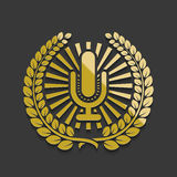 Vector modern golden microphone emblem Royalty Free Stock Photo