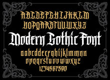 Vector modern gothic alphabet in frame. Vintage font. Typography for labels, headlines, posters etc vector illustration