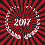 Vector modern Happy New Year 2017 wreath background - vintage red styled version, eps stock image. Vector modern Happy New Year 2017 wreath background - vintage Royalty Free Stock Photo