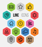 Vector Modern hexagonal thin line icon collection Royalty Free Stock Images