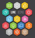 Vector Modern hexagonal thin line icon collection Royalty Free Stock Image