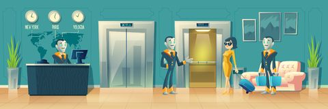 Vector modern hotel reception with robot service vector illustration