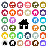 Vector modern House flat design icon set in button Stock Images