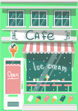 Vector modern ice cream cafe. Detailed facade background in flat style Royalty Free Stock Photography