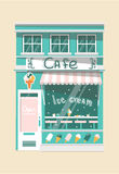 Vector modern ice cream cafe. Detailed facade background in flat style Royalty Free Stock Images