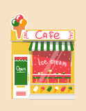 Vector modern ice cream cafe. Detailed facade background in flat style, with big sweet sticker Stock Photo