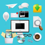 Vector modern icons set. business background. Royalty Free Stock Photos