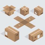 Vector modern isometric cardboard icons set Royalty Free Stock Image