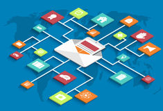 Vector modern isometric email marketing background Stock Photography