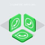 Vector modern 3 isometric telephone app icons Royalty Free Stock Photos