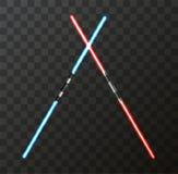Vector modern light swords on transparent background. Stock Image