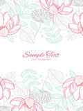 Vector modern line art florals vertical double Royalty Free Stock Photography