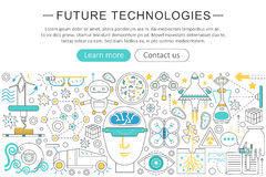 Vector modern line flat design Future technology concept. Future technology icons Website Header, app design poster. Banner Royalty Free Stock Image