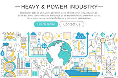 Vector modern line flat design Heavy and power industry concept. Heavy power industry icons Website Header, app design. Poster banner vector illustration