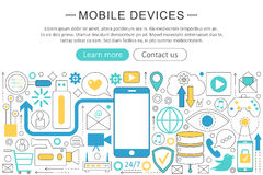 Vector modern line flat design Mobile devices, gadgets concept. Smart mobile gadgets technology icons Website Header Stock Photo