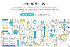 Vector modern line flat design Promotion concept. Promotion icons Website Header, app design poster banner. Royalty Free Stock Photography