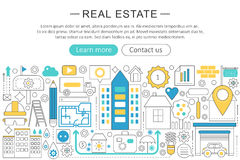 Vector modern line flat design Real estate property concept. Real estate icons Website Header, app design poster banner. stock illustration