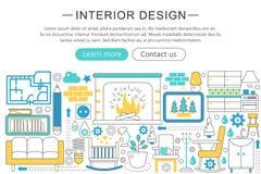 Vector modern line flat Interior design decor concept. Interior design decoration icons Website Header, app design. Poster banner vector illustration