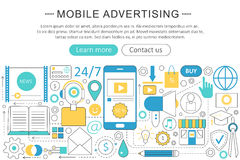 Vector modern line flat Mobile advertising marketing sales concept. Mobile advertising marketing technology icons Royalty Free Stock Photo