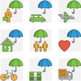 Vector modern line set symbols of insurance Stock Photo