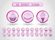 Vector modern line style icons set of sweets and candies products. Stock Photography