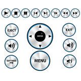 Vector Modern Media player Button Set. Vector aluminum Modern Media player Button Set Stock Images
