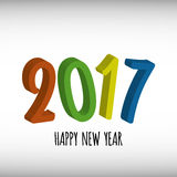 Vector modern minimalistic 3D Happy new year card for 2017 with main big numbers - light version. Vector modern minimalistic 3D Happy new year card for 2017 with Vector Illustration