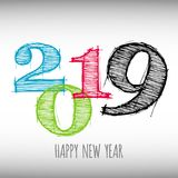 Vector modern minimalistic Happy new year card for 2019 with main big numbers - light version Royalty Free Stock Photography